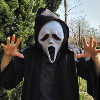 Funny Full Face PVC Realistic Scary Horror Mask Halloween Death Ghost Witch Grimace Scream Masks Party Mask Cosplay Cost - WHITE