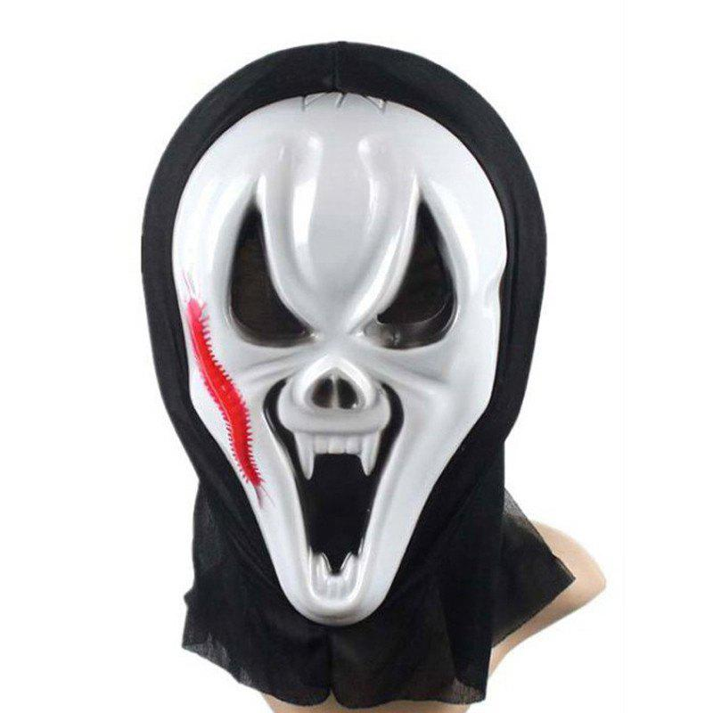 Funny Full Face PVC Realistic Scary Horror Mask Halloween Death Ghost Witch Grimace Scream Masks Party Mask Cosplay - WHITE