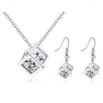 Diamond Square Rubik'S Cube Love Pendant Necklace Earrings 2 Pieces - SILVER SILVER