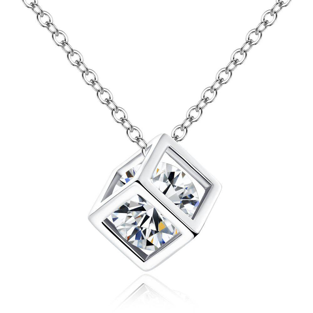 Diamond Square Rubik'S Cube Love Pendant Necklace Earrings 2 Pieces - SILVER
