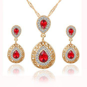 2PCS Necklace Crystal Earrings Water Drop Pendant Jewelry - RED RED
