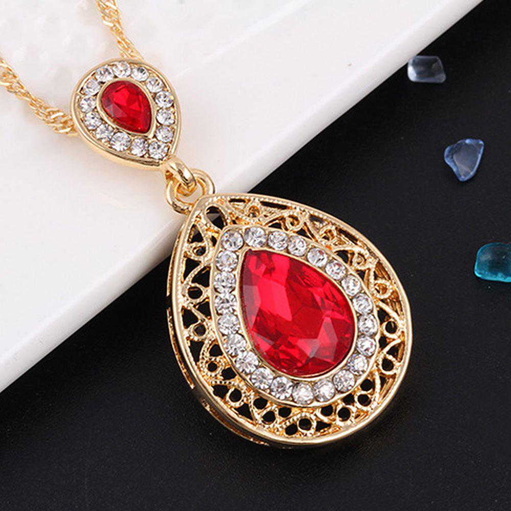 2PCS Necklace Crystal Earrings Water Drop Pendant Jewelry - RED