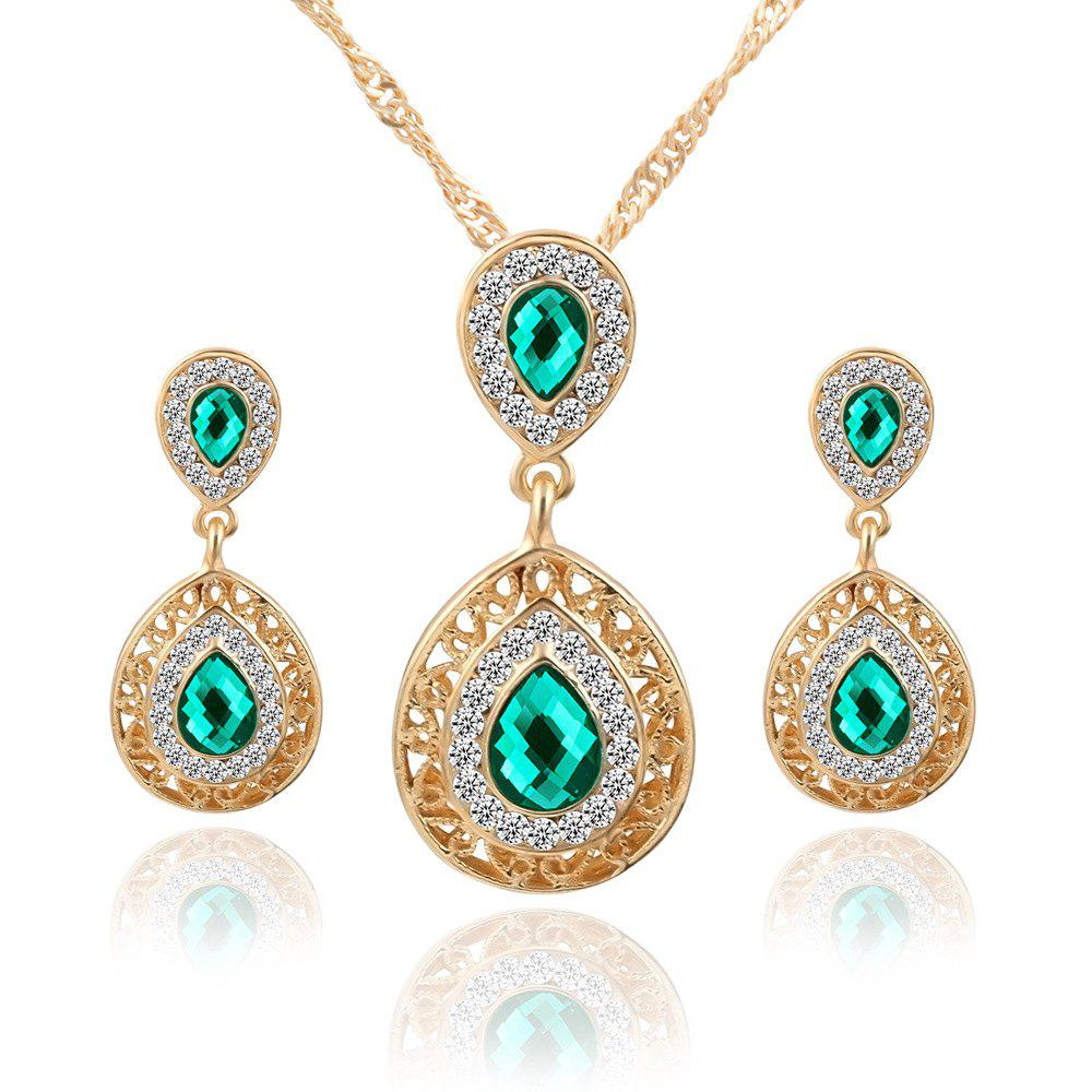2PCS Necklace Crystal Earrings Water Drop Pendant Jewelry - GREEN
