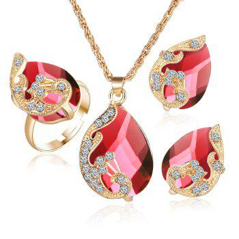 3PCS Crystal Pendant Necklace Earrings Ring Jewelry - RED RED
