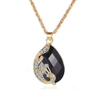 3PCS Crystal Pendant Necklace Earrings Ring Jewelry - BLACK BLACK
