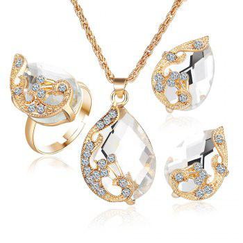 3PCS Crystal Pendant Necklace Earrings Ring Jewelry - WHITE WHITE