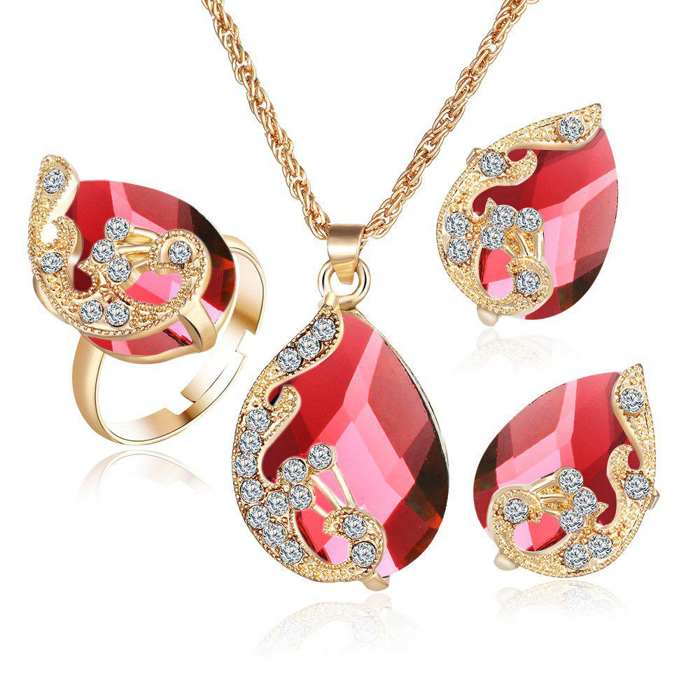 3PCS Crystal Pendant Necklace Earrings Ring Jewelry - RED RESIZEABLE