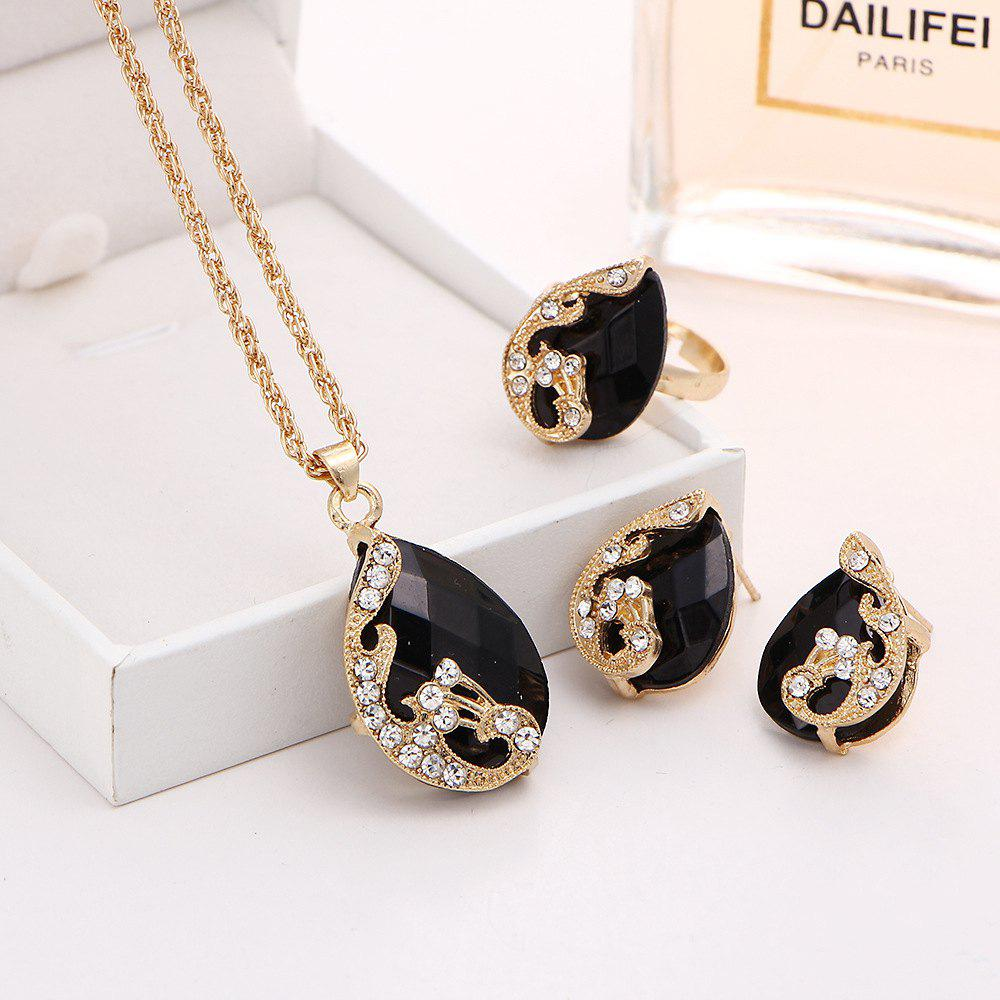 3PCS Crystal Pendant Necklace Earrings Ring Jewelry - BLACK RESIZEABLE