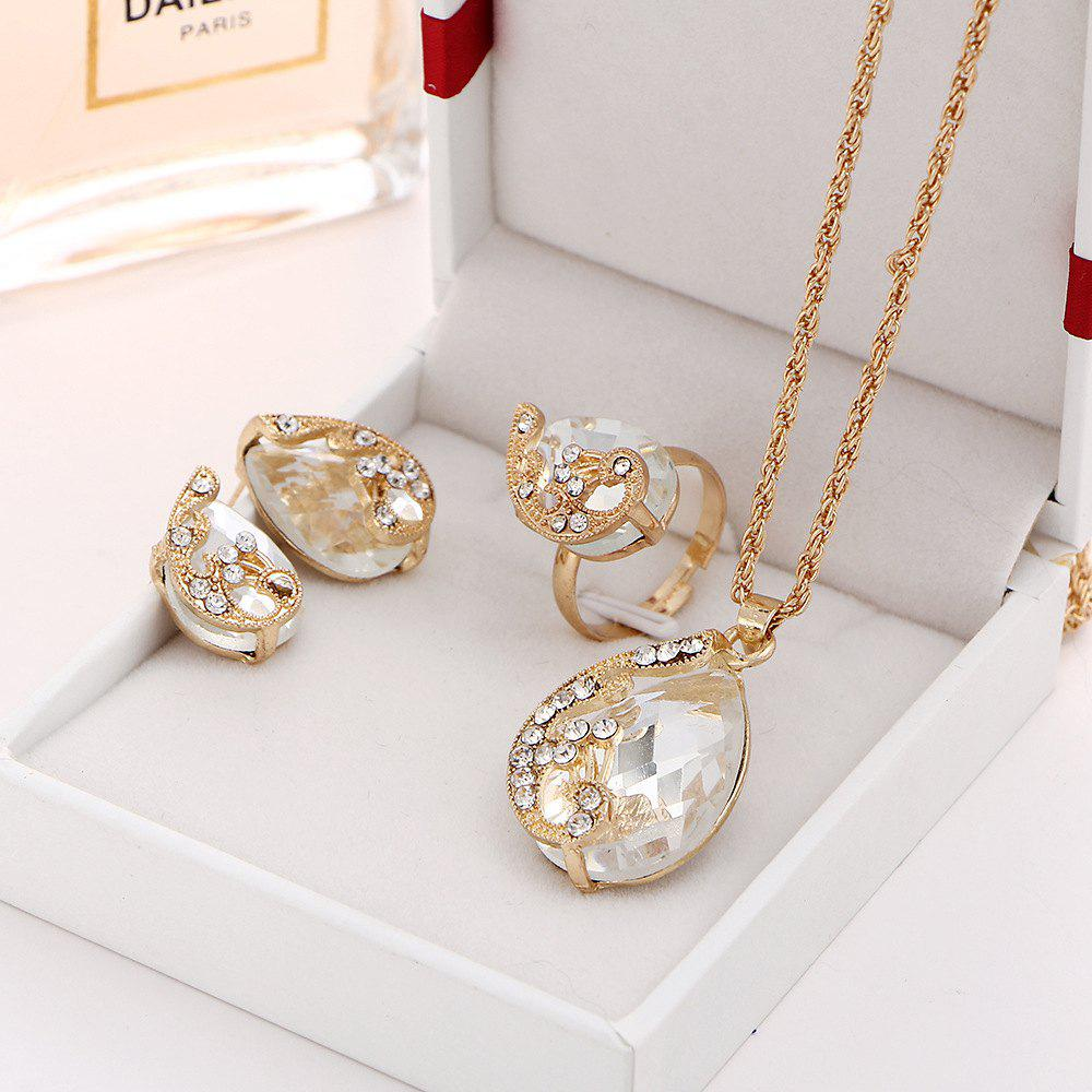 3PCS Crystal Pendant Necklace Earrings Ring Jewelry - WHITE RESIZEABLE