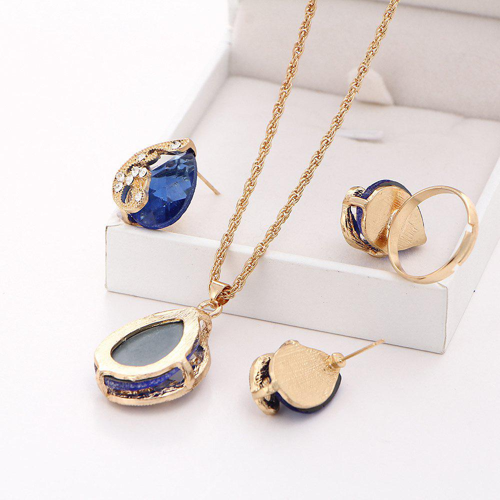 3PCS Crystal Pendant Necklace Earrings Ring Jewelry - BLUE RESIZEABLE