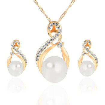 2PCS Ladies Fashion Crystal Diamond Earrings Necklace Jewelry - GOLDEN GOLDEN