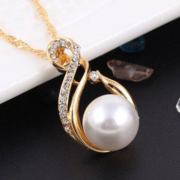 2PCS Ladies Fashion Crystal Diamond Earrings Necklace Jewelry - GOLDEN