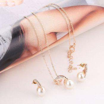 2PCS Luxury Diamond Crystal Earrings Necklace Jewelry Set - GOLDEN