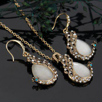 2PCS Peacock Cat'S Eye Crystal Earrings Necklace Set - WHITE