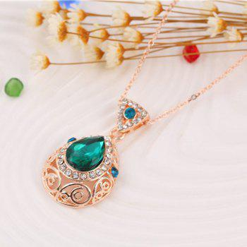 2PCS Crystal Diamond Earrings Drop Hollow Pendant Necklace Jewelry Set - GREEN