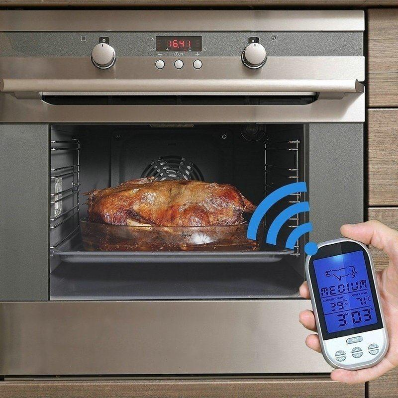 Ibentrail 1PC New Wireless Remote Smoker BBQ Grill Meat Thermometer for Kitchen Oven Food Cooking - AS THE PICTURE