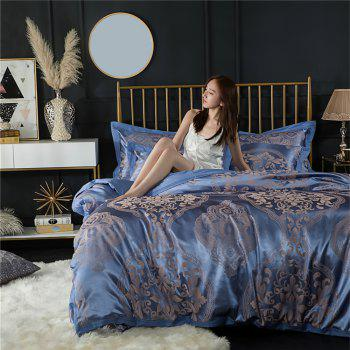 2018 New Bedding sets full queen size cotton satin jacquard duvet cover set OLM - BLUE QUEEN