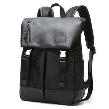 Men s Leather Canvas Backpack Fashion Rucksack