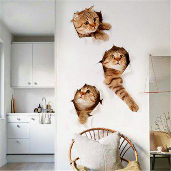Cat 3D Wall Sticker Hole View Bathroom Toilet Living Room Home Decor Decal Poster Background Wall Stickers - BROWN