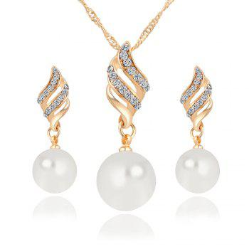 Simple and Fashion Earrings Necklace Set - GOLDEN GOLDEN