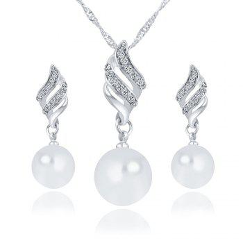 Simple and Fashion Earrings Necklace Set - SILVER SILVER
