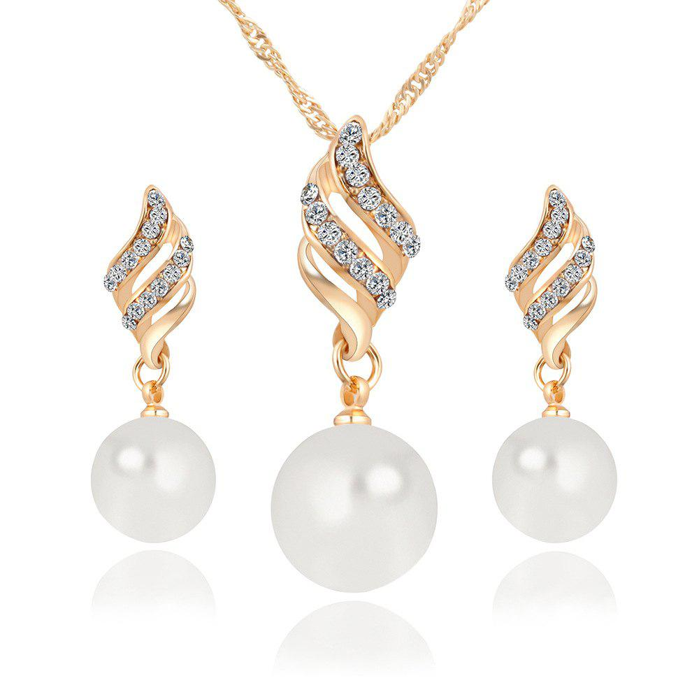 Simple and Fashion Earrings Necklace Set - GOLDEN