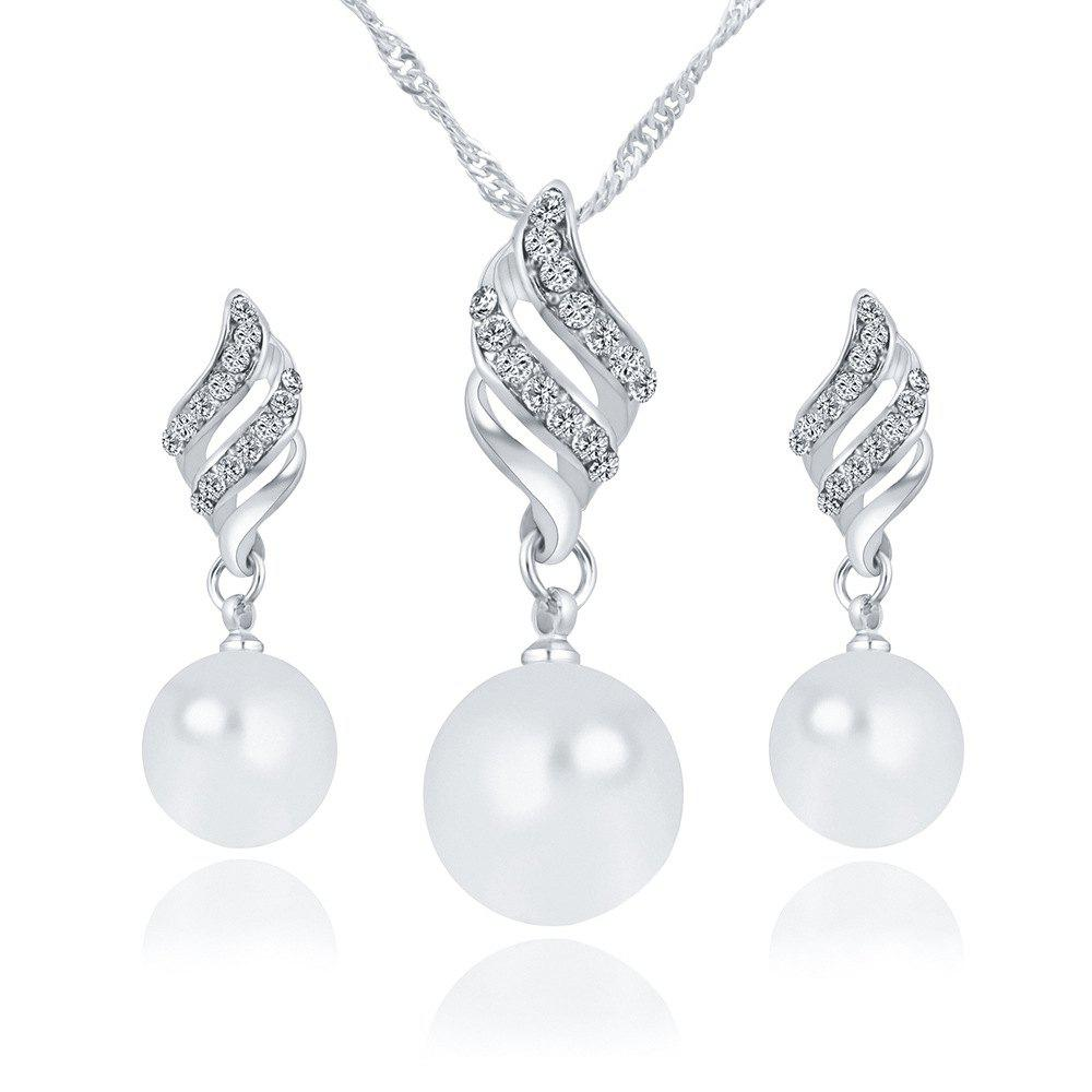 Simple and Fashion Earrings Necklace Set - SILVER