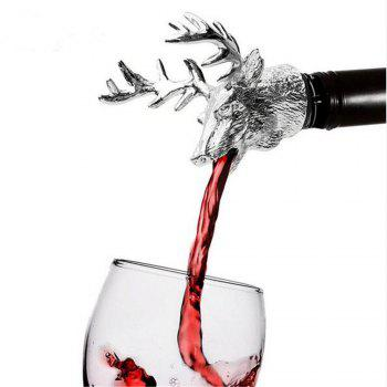 Stainless Steel Deer Stag Head Wine Pourer Unique Wine Bottle Stoppers Wine Aerators Bar Tools - SILVER SILVER