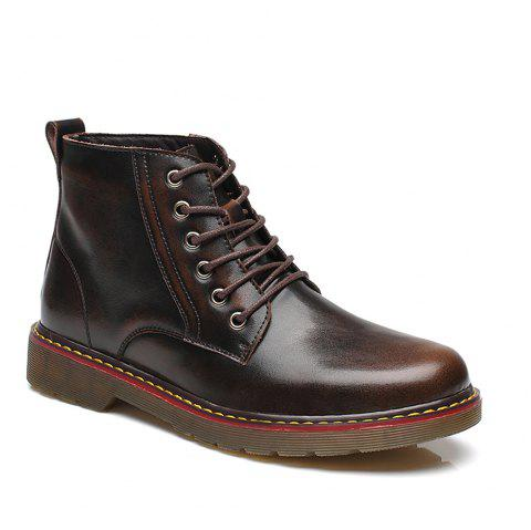 Fashion High Leather Boots - BROWN 42
