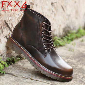 Fashion High Leather Boots - BROWN 41