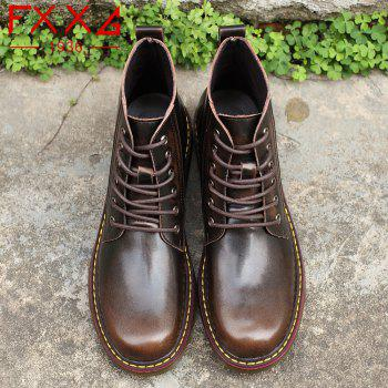 Fashion High Leather Boots - BROWN 39