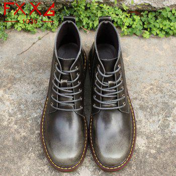 Fashion High Leather Boots - GRAY 39