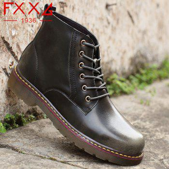 Fashion High Leather Boots - GRAY 38