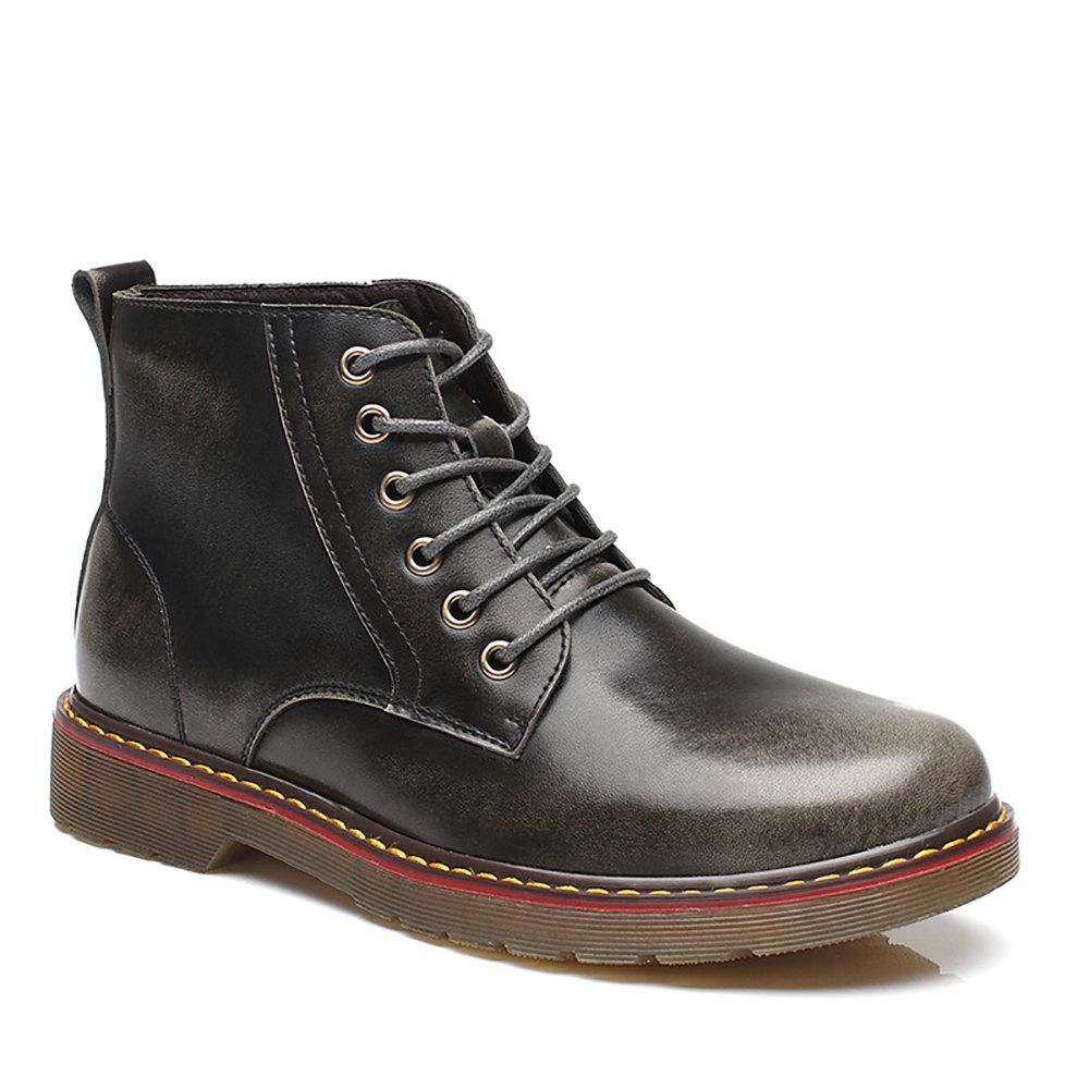 Fashion High Leather Boots - GRAY 42