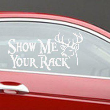 Show Me Your Rack Quote Car Sticker Cartoon Deer Head Car Decals - WHITE 16 X 9 CM