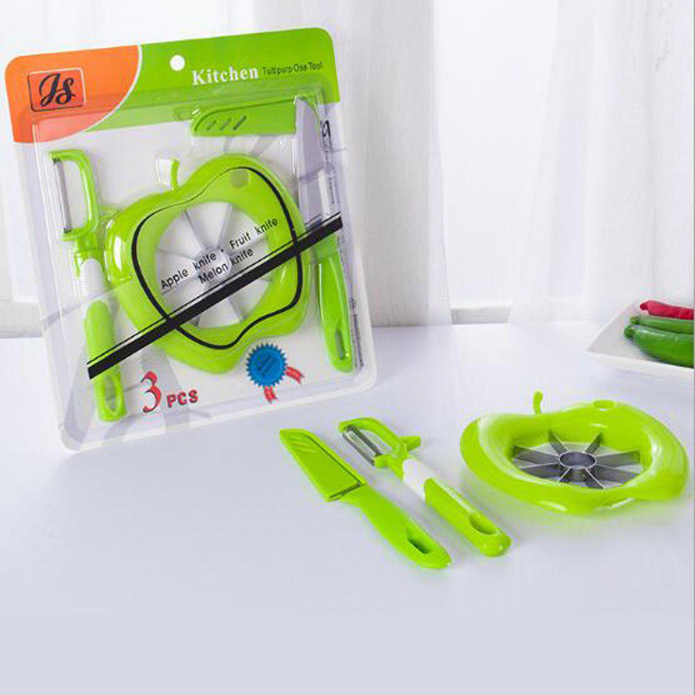 3 Piece Set Fruit Cutter Corer Slicer Divider Fruit Peeler and Fruit Paring Knife - GREEN