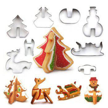 8 PCS Cookie Biscuit Cutters Set Baking Tools Stainless Steel Cake Mold Including Snowman Sledge and Christmas Tree - SILVER SILVER