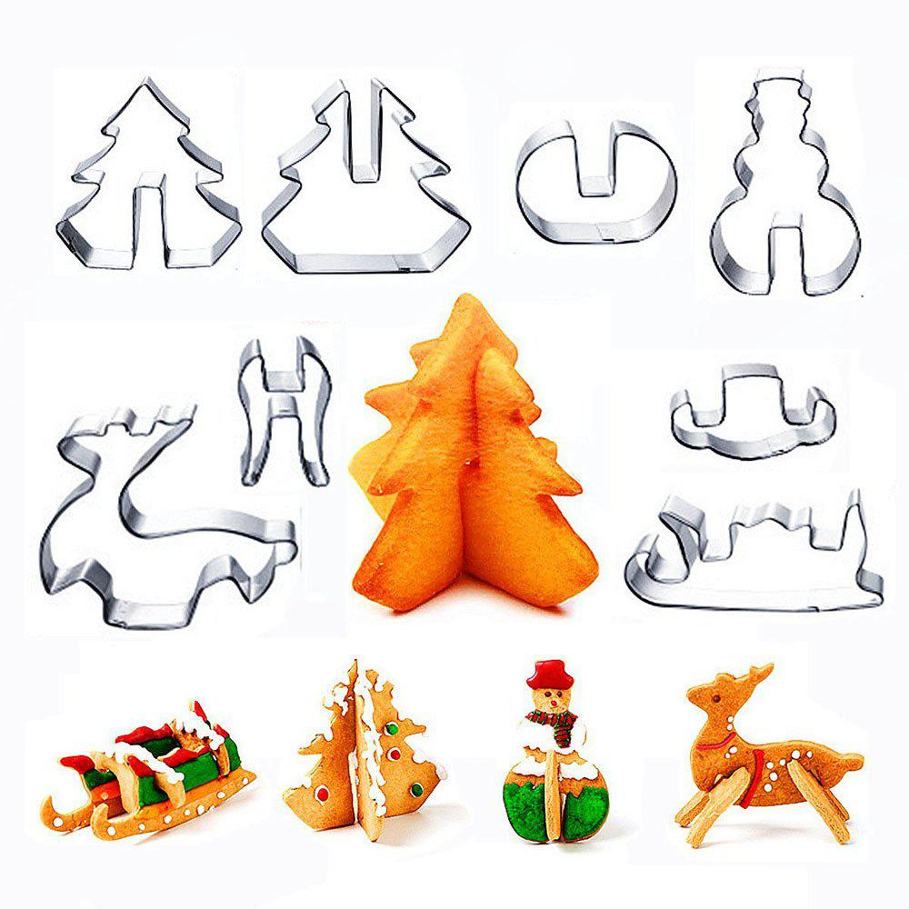 8 PCS Cookie Biscuit Cutters Set Baking Tools Stainless Steel Cake Mold Including Snowman Sledge and Christmas Tree - SILVER