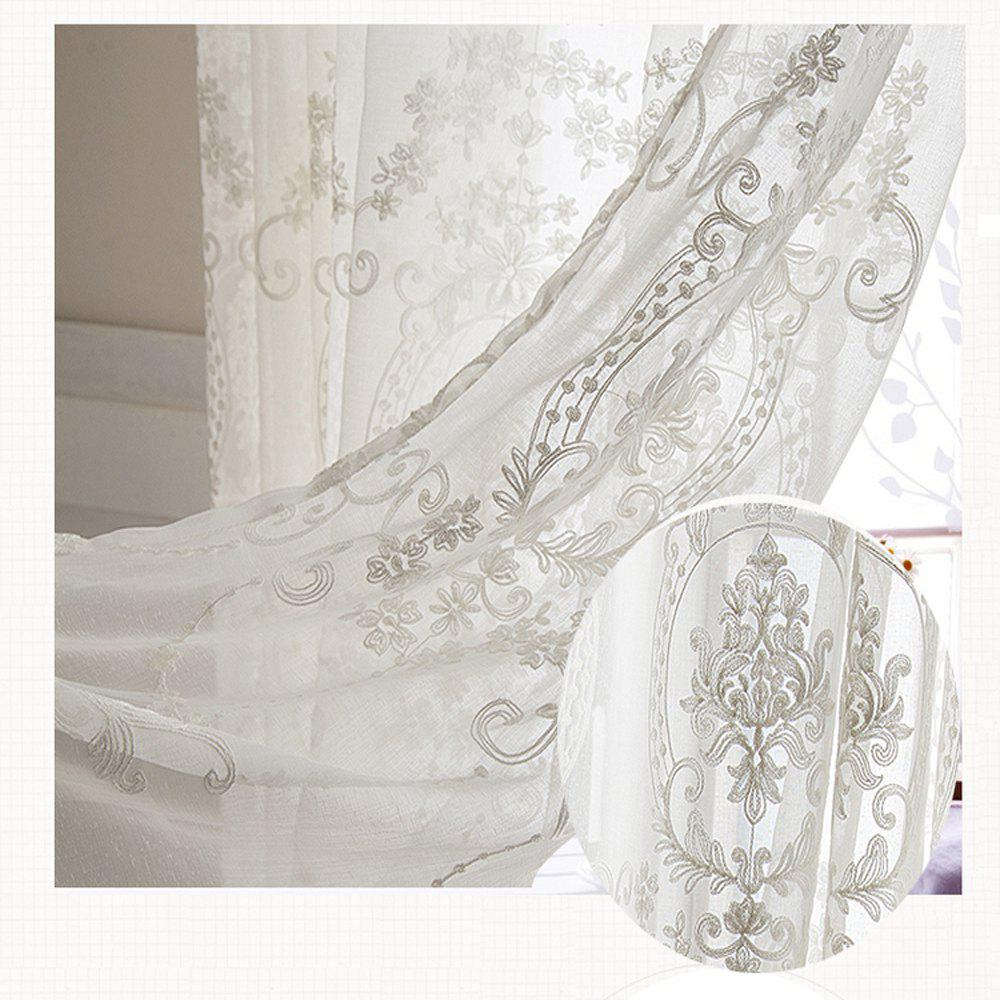European Embroidered White Yarn  High Grade Embroidery Window Yarn 140cmx265cm - WHITE 140CMX265CM