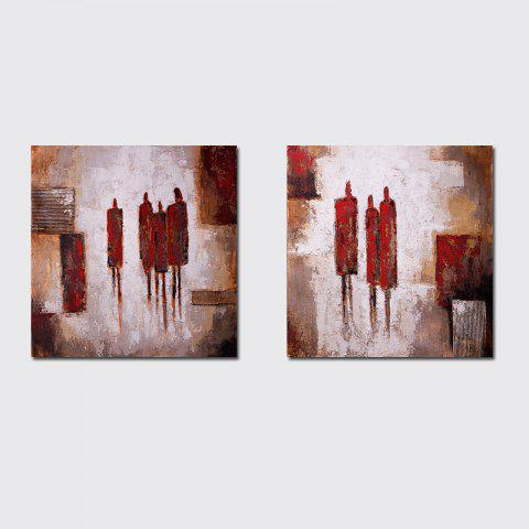 QiaoJiaHuaYuan No Frame Canvas Living Room Sofa Background Decoration Hanging Picture Simple and Abstract Double - Linked - COLORMIX