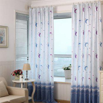2pcs Home Simple Lovely Stars Moon Pattern Print Window Curtain - COLORMIX COLORMIX