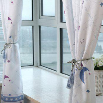 2pcs 100cm x 200cm Home Simple Lovely Stars Moon Pattern Print Window Curtain - COLORMIX