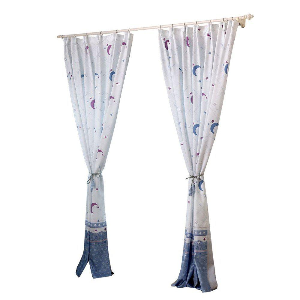 2pcs Home Simple Lovely Stars Moon Pattern Print Window Curtain - COLORMIX