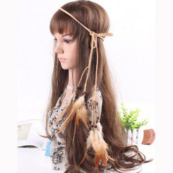 Feather Headdress Fashion Retro Punk Trend Hairy Belt Hair Band - KHAKI KHAKI