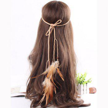 Feather Headdress Fashion Retro Punk Trend Hairy Belt Hair Band - KHAKI