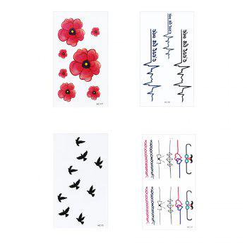 4Pcs Women's Tattoo Stickers Fresh Style Chic Color Block Tattoo Accessory - COLORMIX COLORMIX