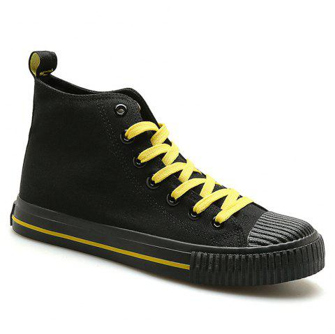 Men Casual All-Match Breathable Student Canvas Fashion Shoes - BLACK 42