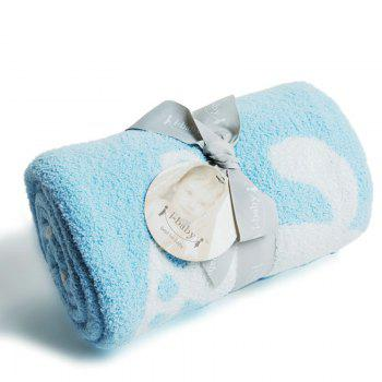 Ibaby Newborn Infant Baby Wrap Fluffy Feather Yarn Jacquard Blanket Safari Swaddling - BLUEBELL