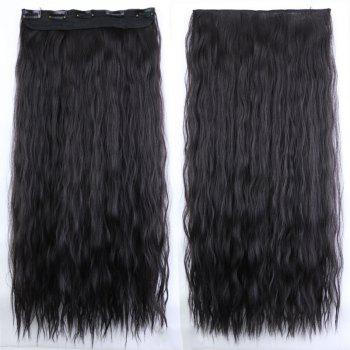 New Fashion Women Long Hair Extension Wave Curls Corn Perm Wig - NATURAL BLACK