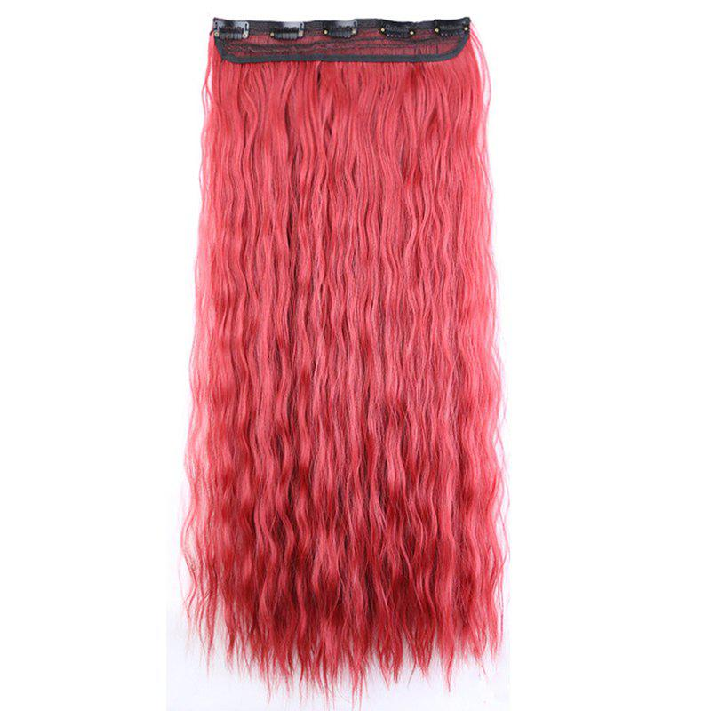 New Fashion Women Long Hair Extension Wave Curls Corn Perm Wig - RED